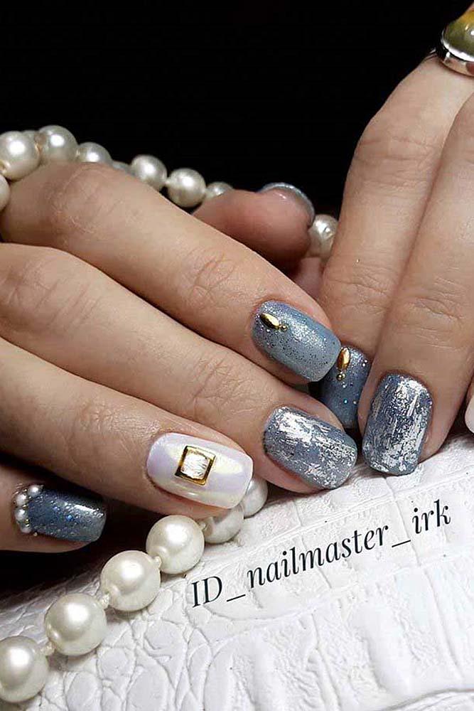 модный маникюр короткий серебро