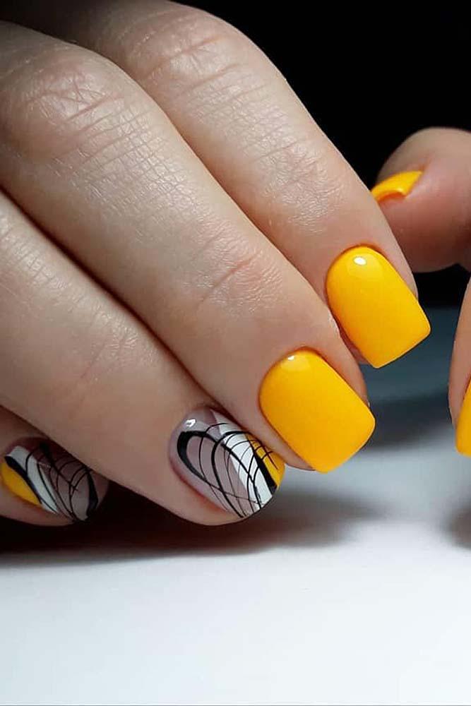 модный маникюр яркий короткие ногти