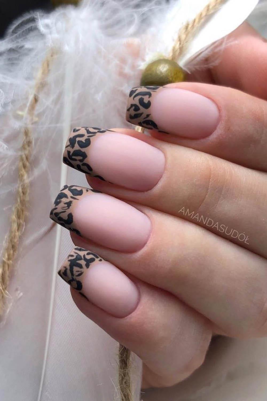 модный маникюр френч леопард
